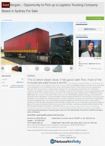 Great sell trucking logistics company sold Western Sydney