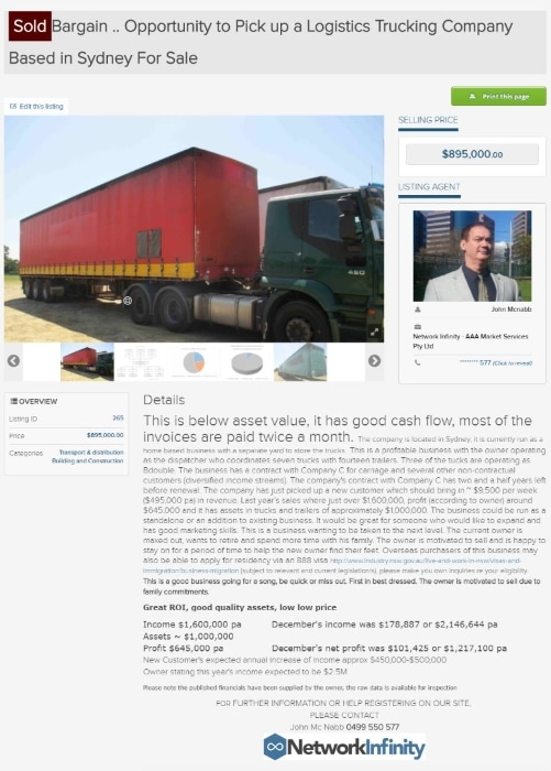 Selling trucking logistics company business sold brokers agents Western Sydney