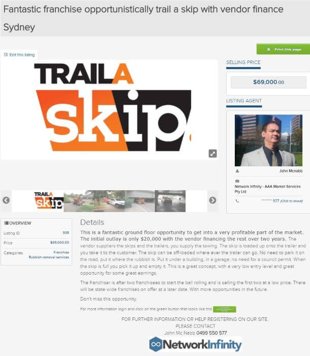 Fantastic franchise opportunity traila skip with vendor finance Sydney