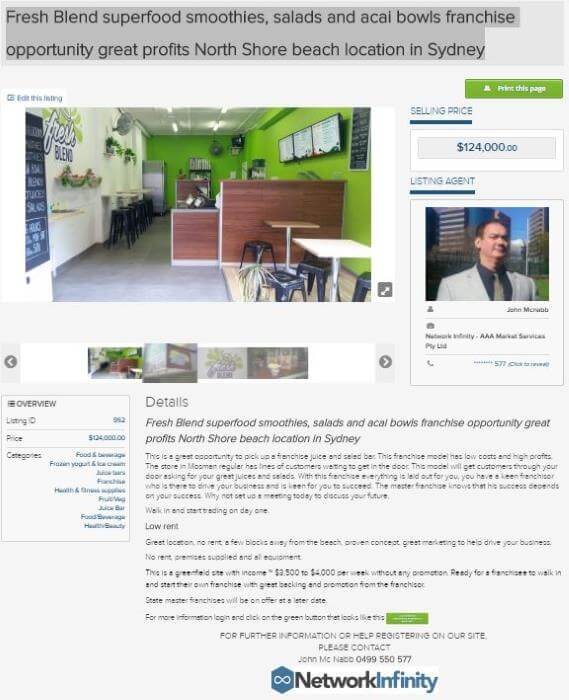 Fresh Blend superfood smoothies franchise opportunity Sydney