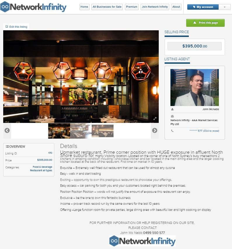 Looking to sell value fine dinning restaurant sold Crows Nest